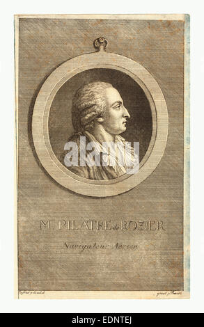 M. Pilatre de Rozier, aeronaut by p. Goulet , engraved by p. Thoenert - Stock Photo