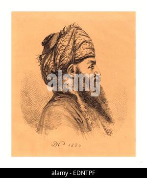 Baron Dominique Vivant Denon (French, 1747  1825 ), Profile Head of Oriental in Turban, 1820, lithograph - Stock Photo