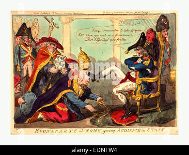 Buonaparte at Rome giving audience in state, Cruikshank, Isaac, 1756?-1811?, engraving 1797, Napoleon, wearing tattered - Stock Photo