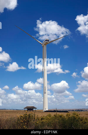 One of the wind turbines at Eskom's Klipheuwel Wind Energy Research Facility in the  Western Cape Province of South - Stock Photo