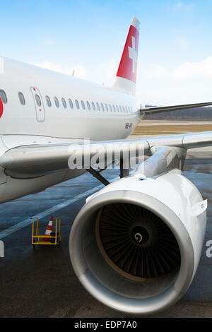 Swiss International Airlines Airbus A319 powered by 2 high-bypass turbofan aircraft engines made by CFM International - Stock Photo