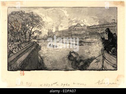 Auguste Louis Lepère (French, 1849 - 1918). Le Louvre, vu du Pont-Neuf, 1890. Wood engraving - Stock Photo