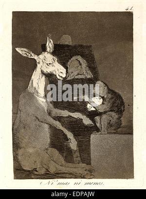 Francisco de Goya (Spanish, 1746-1828). Ni mas ni menos. (Neither more nor less.), 1796-1797. From Los Caprichos - Stock Photo