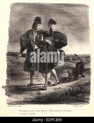 Eugène Delacroix (French, 1798 - 1863). Faust, Mephistopheles, and the Water Dog (Faust, Méphistophélès et le barbet), - Stock Photo