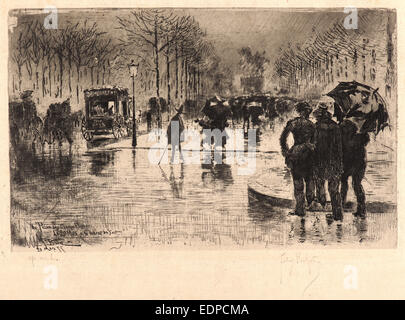 Félix Hilaire Buhot (French, 1847 - 1898). Return of the Artists on the Champs- Elysées - Stock Photo