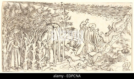 Anonymous (Italian). Divine Comedy: Dante Lost in the Wood, Escaping and Meeting Virgil, 1481. Engraving - Stock Photo