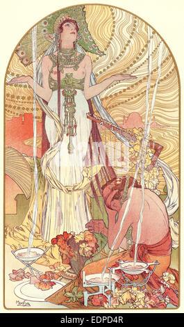 Alphonse Mucha (Czech, 1860 - 1939). Incantation (Salammbo), ca. 1897. Color lithograph on wove paper - Stock Photo