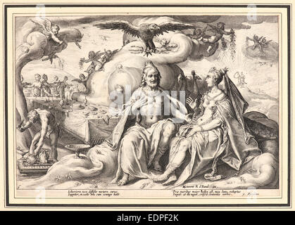 Anonymous after Hendrick Goltzius (Dutch, 1558 - 1617). The Dispute between Jupiter and Juno - Stock Photo