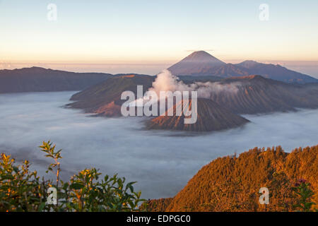 Sunrise over Mount Bromo / Gunung Bromo, active Indonasian volcano and part of the Tengger massif, East Java, Indonesia - Stock Photo