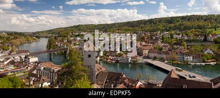 View from Munot Fortress over the town, Schaffhausen, High Rhine, Canton of Schaffhausen, Switzerland, Europe - Stock Photo