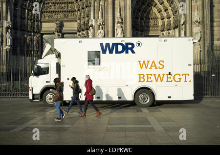 WDR a German TV broadcaster's mobile studio - Stock Photo