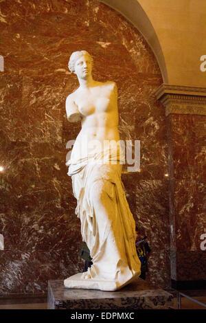 Venus de Milo sculpture in Louvre Museum, Paris, France. - Stock Photo