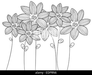 Delicate black & white illustration six fresh flowers with stems and leaves for decorative or romantic themes - Stock Photo