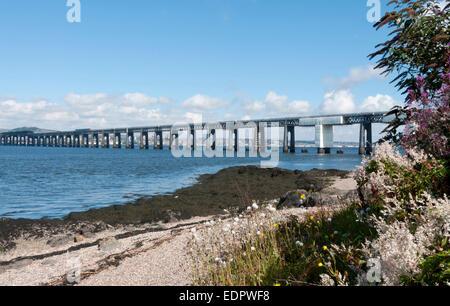 tay rail bridge river estuary railway crossing angus - Stock Photo