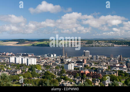 city view vista tay estuary high rise flats dundee angus - Stock Photo