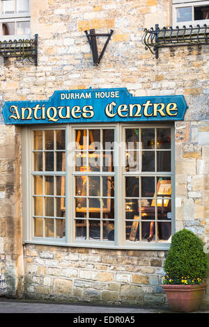 Durham House Antiques Centre in famous Cotswold town of Stow-on-the-Wold in The Cotswolds, Gloucestershire, UK - Stock Photo