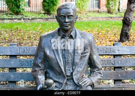 Alan Turing Statue Manchester - Stock Photo