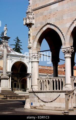 UDINE, ITALY: 1457 Loggia dei Lionello (right) and a portion of the 16th century Loggi di Giovanni in the Piazza - Stock Photo