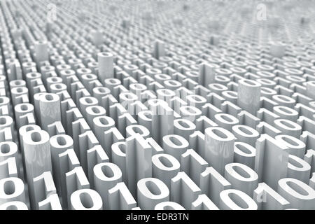 Abstract white digital binary code background with depth of view - Stock Photo