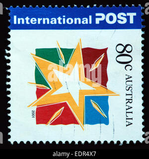 Used and postmarked Australia / Austrailian Stamp 2001 International Post 80c - Stock Photo