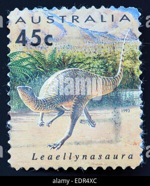 Used and postmarked Australia / Austrailian Stamp 45c Leaellynasaura 1993 - Stock Photo
