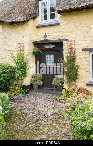 Quaint typically English cottage at Exmoor National Park in Somerset, United Kingdom