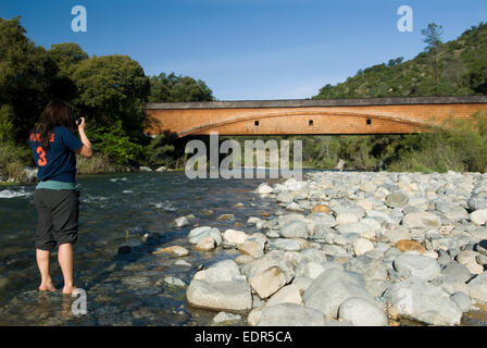 Bridgeport covered Bridge at the South Yuba River State Park - Stock Photo