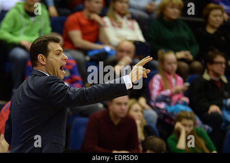 Moscow, Russia. 8th Jan, 2015. Head coach Dimitros Itoudis of Russia's CSKA Moscow gestures during the Basketball - Stock Photo