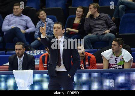 Moscow, Russia. 8th Jan, 2015. Head coach Ibon Navarro of Spain's Laboral Kutxa Vitoria gestures during the Basketball - Stock Photo