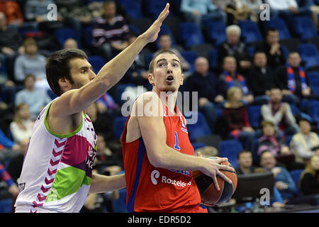 Moscow, Russia. 8th Jan, 2015. Nando de Colo (R) of Russia's CSKA Moscow competes during the Basketball Euroleague - Stock Photo