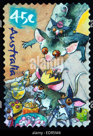 Used and postmarked Australia / Austrailian Stamp 45c cartoon mouse mice - Stock Photo