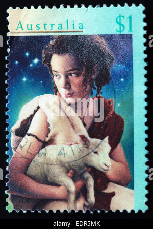 Used and postmarked Australia / Austrailian Stamp 1996 $1 Xmas - Stock Photo