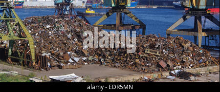 Recycling, loading scrap metal in the ship. Russia. Port of Nakhodka. Primorskiy Kray. - Stock Photo
