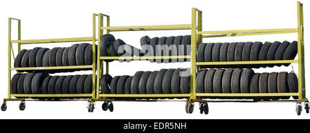 new car tires stacked on the rack - Stock Photo