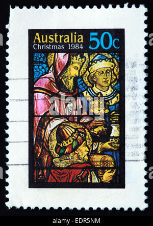 Used and postmarked Australia / Austrailian Stamp Christmas 1984 50c - Stock Photo