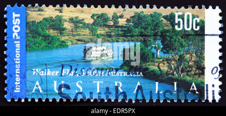 Used and postmarked Australia / Austrailian Stamp 50c Walker Flat South 50c 2002 - Stock Photo