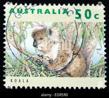Used and postmarked Australia / Austrailian Stamp 50c Koala 1992 - Stock Photo