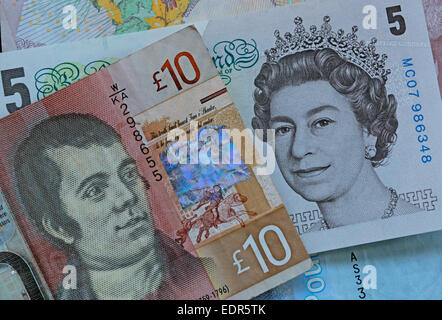 Scotland Sterling notes Scottish coin coins money currency finance - Stock Photo