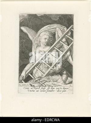 Angel with the ladder, hammer, nails and gallipot, Aegidius Sadeler - Stock Photo