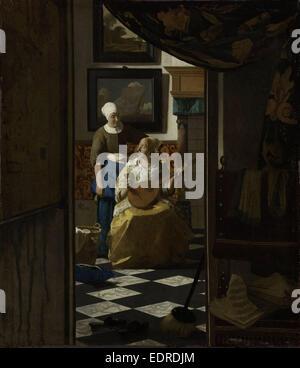 The Love Letter, Johannes Vermeer, c. 1669 - c. 1670 - Stock Photo