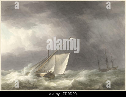 Two sailing ships in rough seas, Martinus Schouman, 1803 - Stock Photo