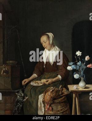 Woman Eating, Known as The Cat's Breakfast, Gabriël Metsu, c. 1661 - c. 1664 - Stock Photo