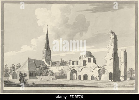 The ruins of the abbey of Rijnsburg The Netherlands, Gerrit Toorenburgh, 1742 - 1785 - Stock Photo