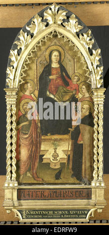 Virgin and Child Enthroned with Four Saints, Saints John the Baptist, Antony Abbot, Elizabeth of Hungary, a female - Stock Photo
