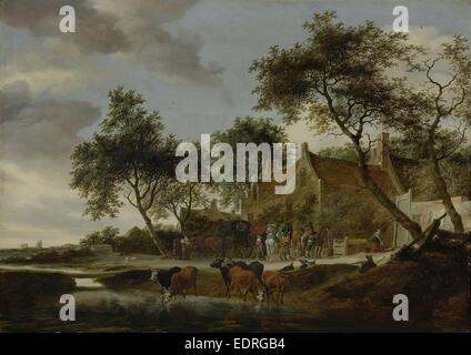The watering place, Salomon van Ruysdael, 1660 - Stock Photo
