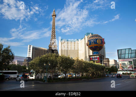 The Eiffel Tower Restaurant at the Paris hotel and casino Bellagio Fountains located on the Las Vegas Strip in Paradise, - Stock Photo