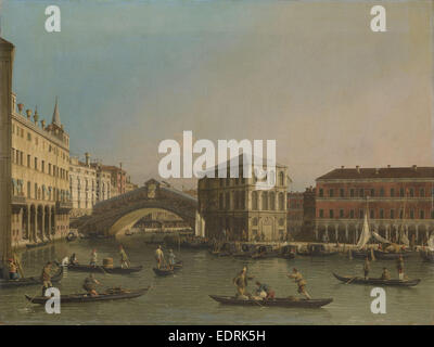 Grand Canal with the Rialto Bridge and Fondaco dei Tedeschi, Venice Italy, workshop of Canaletto, 1707 - 1750 - Stock Photo
