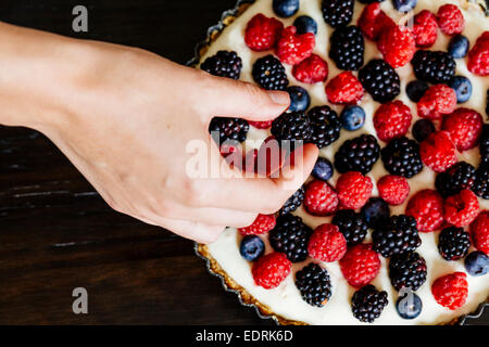 Berry and mascarpone tart - Stock Photo