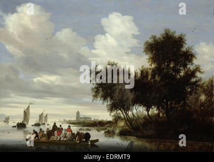 River Landscape with Ferry, Salomon van Ruysdael, 1649 - Stock Photo