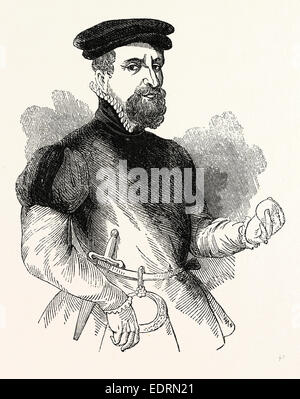 Portrait Sir Thomas Gresham, English merchant and financier, London, England, engraving 19th century, Britain, UK - Stock Photo